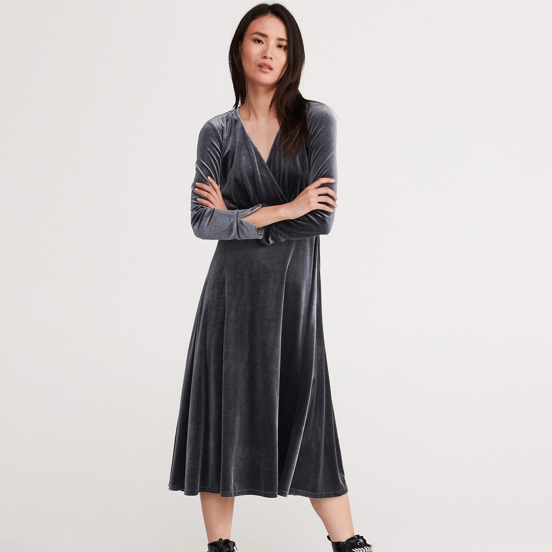 Reserved Welurowa sukienka - Niebieski