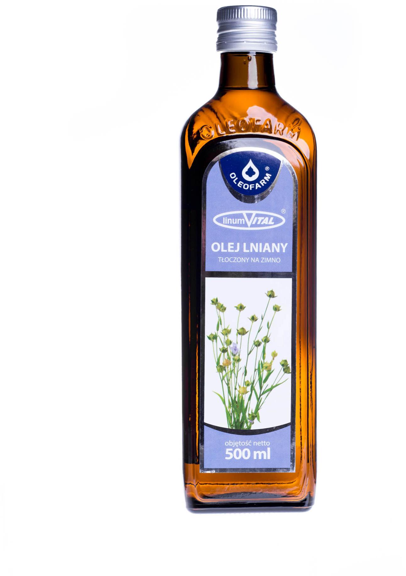 Oleofarm Olej lniany tłoczony na zimno 500 ml