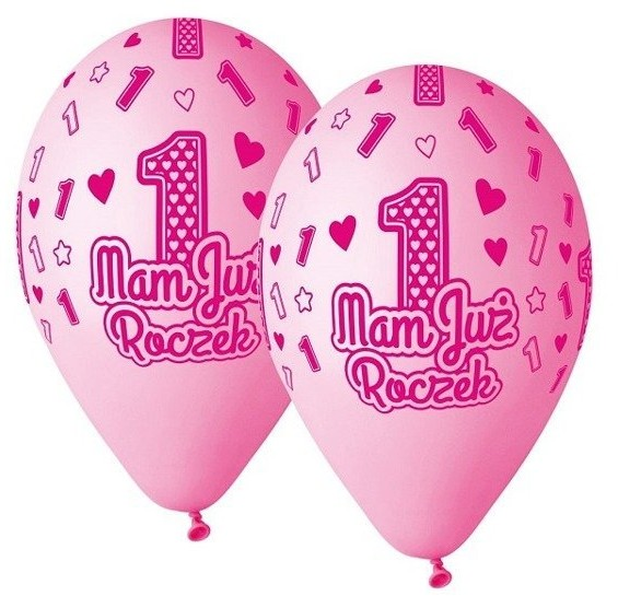 Godan Balony Mam już roczek 5 sztuk różowe GS120/MJRR GS120/MJRR