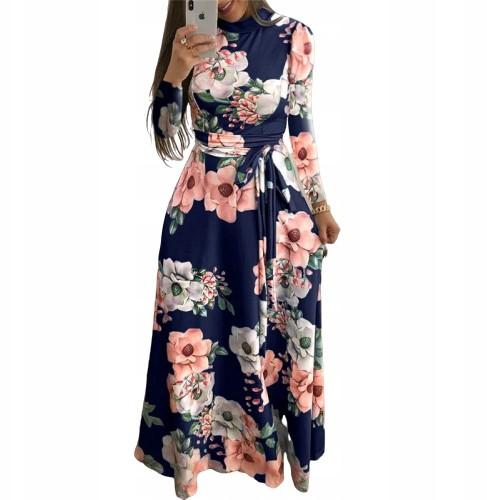 Sukienka w kwiaty maxi wiązana Plus Size XXL 44