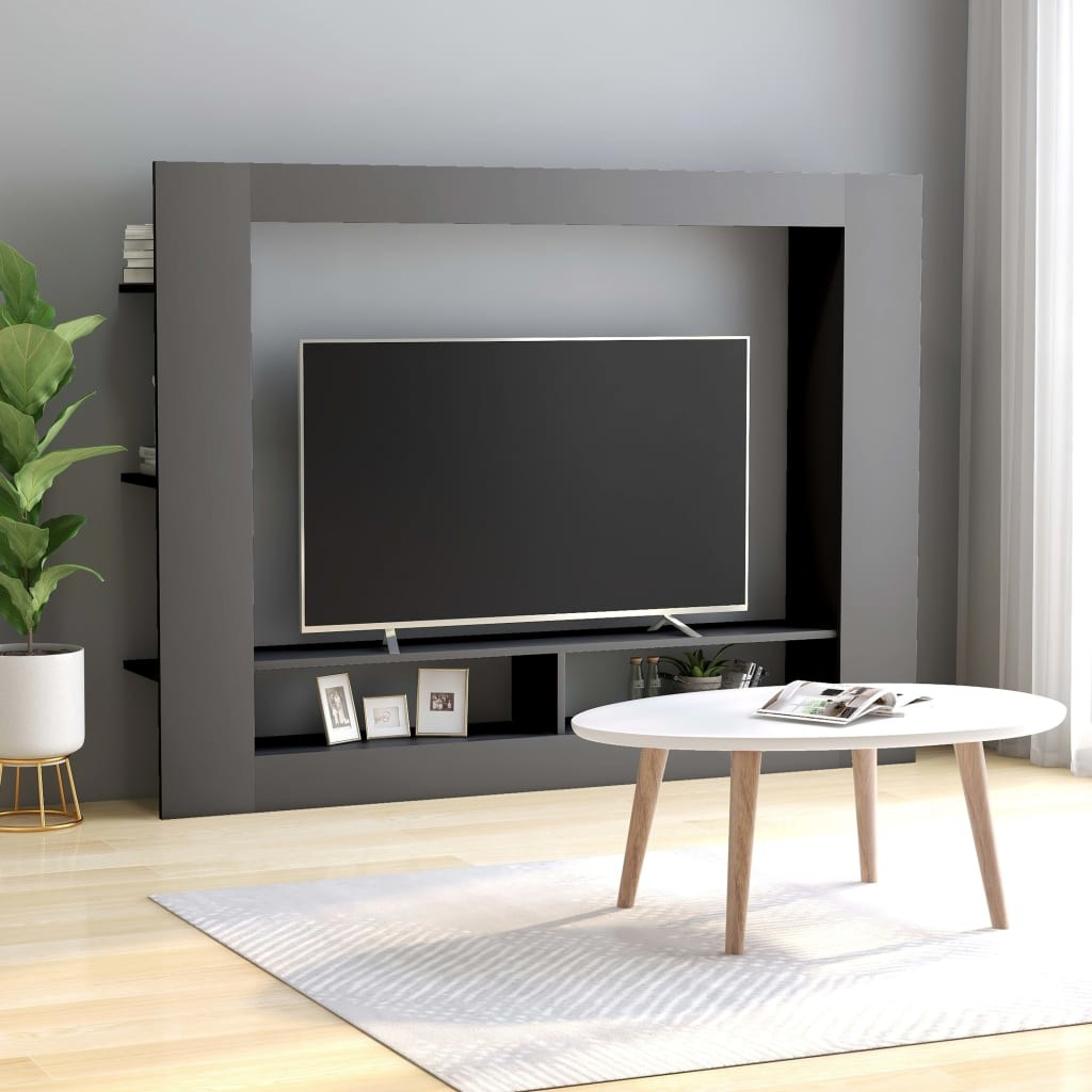 vidaXL Szafka telewizyjna, szara, 152 x 22 x 113 cm, płyta wiórowa