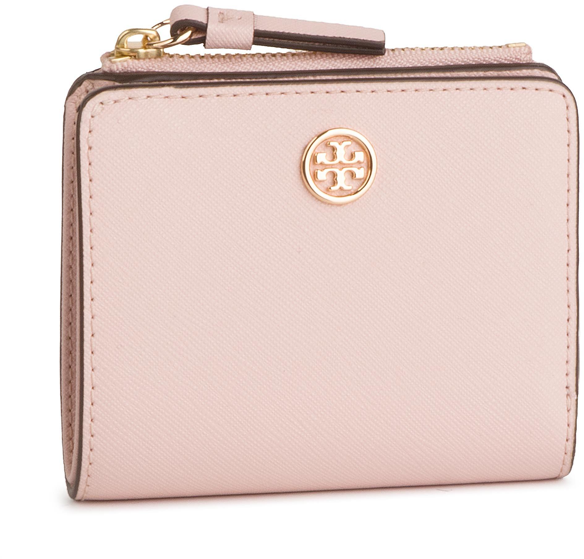 7d4c4858b0870 Tory Burch Mały Portfel Damski TORY BURCH - Robbinson Mini Wallet 54449  Shell Pink 652
