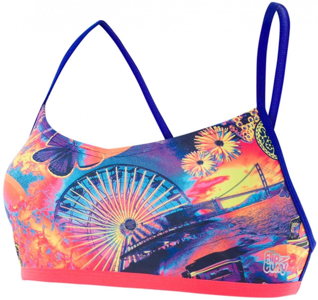 Speedo hi five flash ribbonback top navy/chroma blue/neon