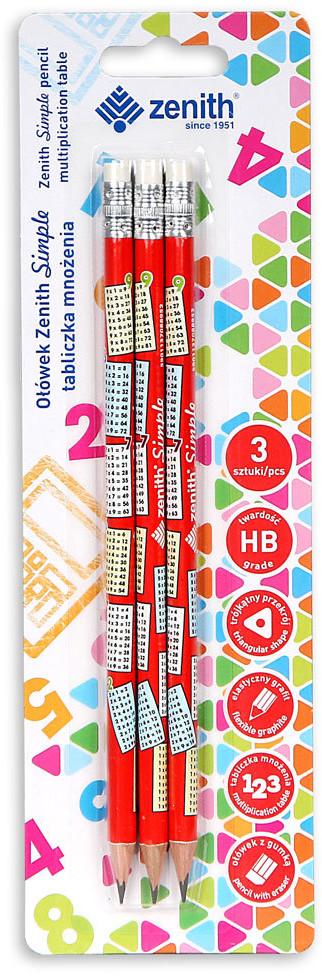 Astra ołówek z tabliczką mnożenia, Zenith Simple, 3 sztuki