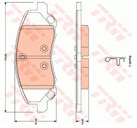 TRW Zestaw klocków hamulcowych, hamulce tarczowe GDB4141