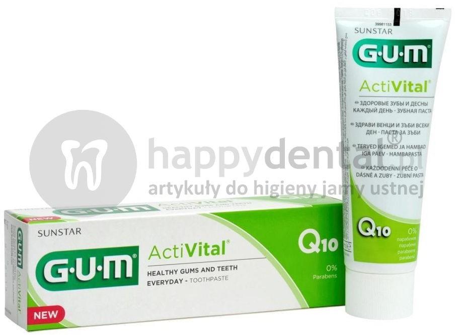 Sunstar Pasta do zębów GUM ActiVital (6050) 75ml w formie żelu z koenzymem Q10 i wyciągiem z granatu