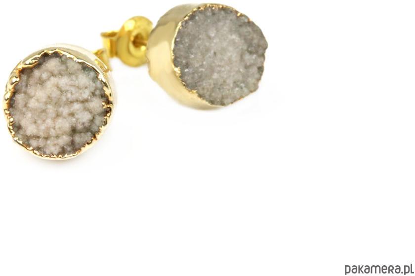 Earrings Agat Druza Beż złoto