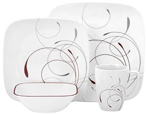 Corelle Zestaw naczyń splendor ze szkła vitrelle dla 4 osób 16-częściowy, telewizyjny i odporność na pękanie, czerwony/szary 3961