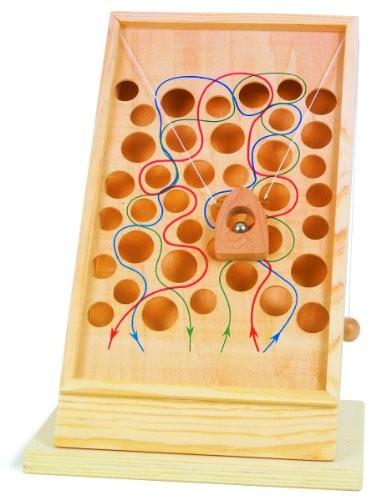Small Foot by Legler do wspinaczki ścieżki/gry zręcznościowe z drewna pokrytego kolorowy narysowane ścieżek, zabawka rozwijająca sprawność ruchową może zostać umieszczona na każdej blat stołu 4603