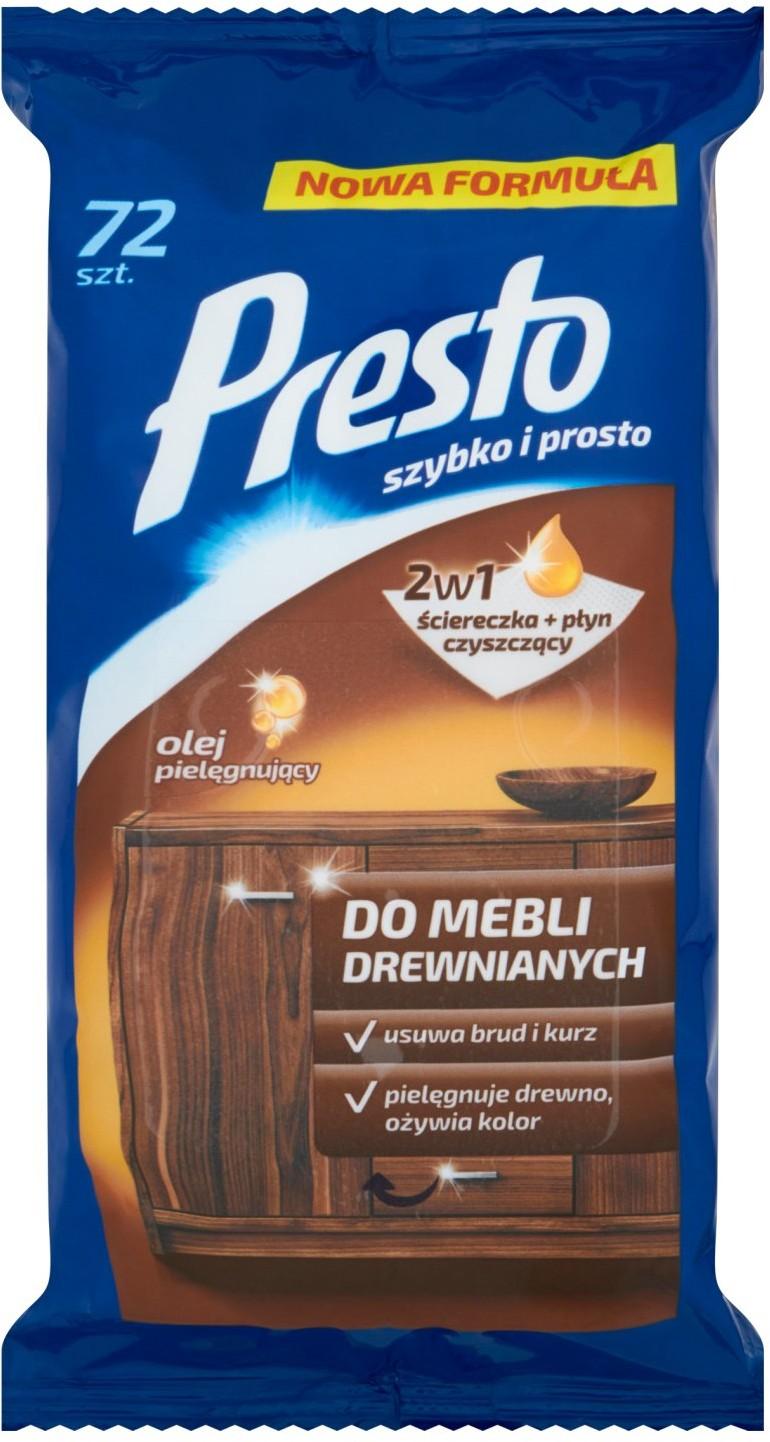 PRESTO CLEAN Presto Ściereczki nawilżane do czyszczenia mebli drewnianych 72 sztuki