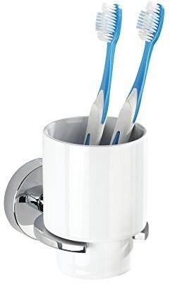 Wenko 22316100 Vacuum LOC kubek do mycia zębów Capri uchwyt do szczoteczek do zębów Szczoteczka do zębów i dziąseł, montaż bez wiercenia do makaronu, cynkowy odlew ciśnieniowy, 8 x 10 x 12.5 cm, chro 22316100