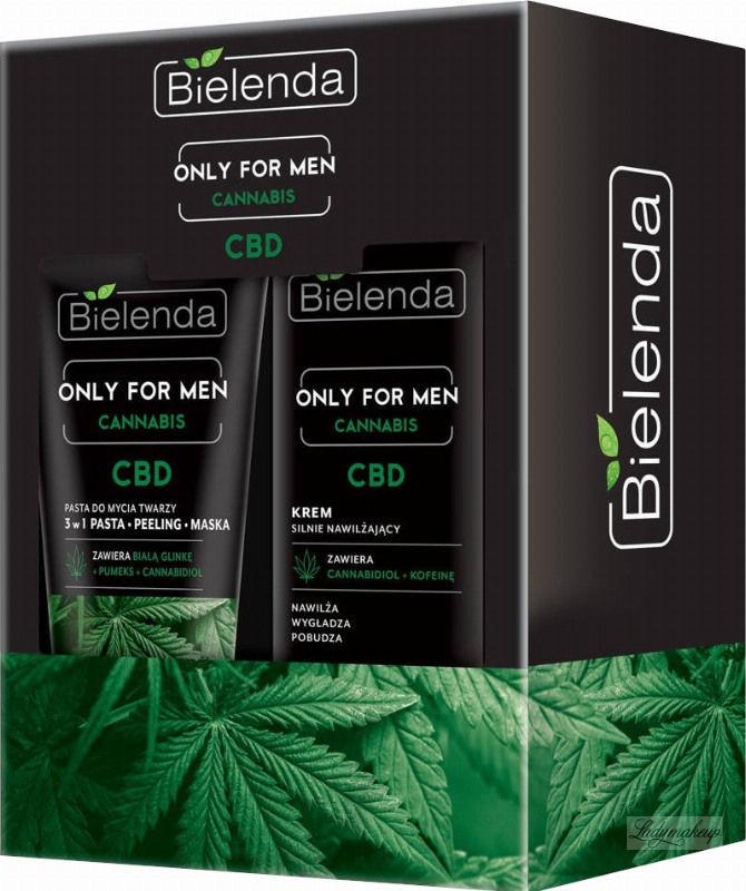Bielenda ONLY FOR MEN CANNABIS CBD - Zestaw kosmetyków dla mężczyzn - Krem silnie nawilżający 50 ml + Pasta do mycia twarzy 150 g