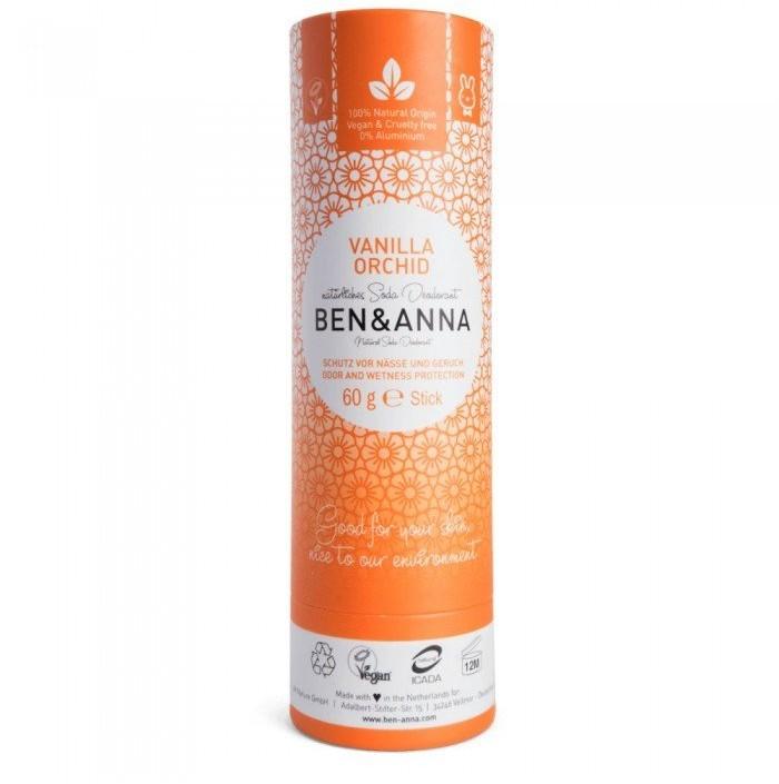 BEN&ANNA Bem&Anna, naturalny dezodorant na bazie sody w sztyfcie kartonowym, Vanilla Orchid, 60 g