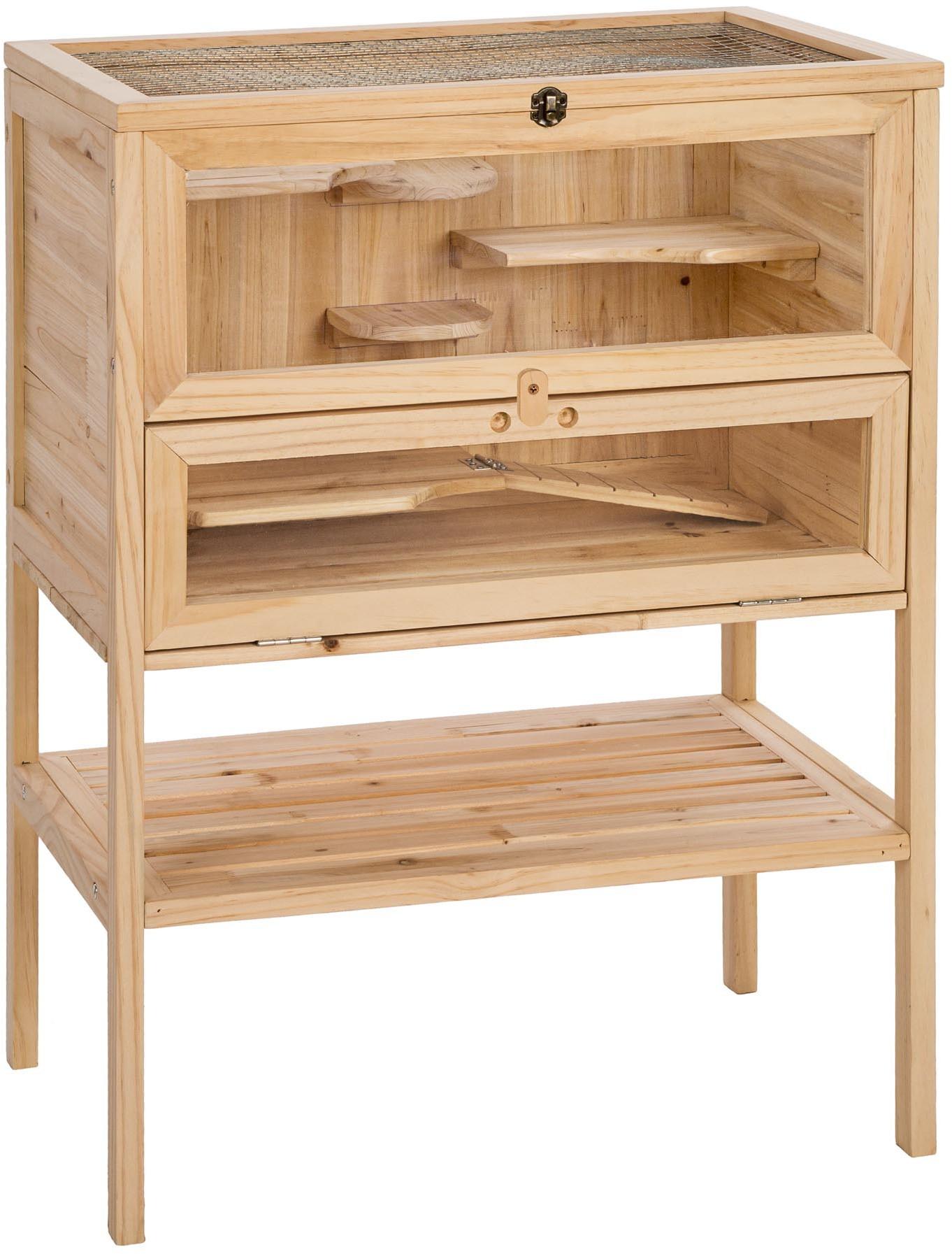 tectake Klatka dla chomika drewniana 60x40x80 cm - brązowy 403246
