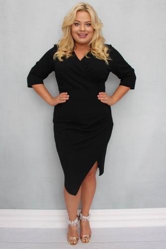 KARKO Sukienka z kopertowym dekoltem ILONA drapowana plus size czarna PROMOCJA