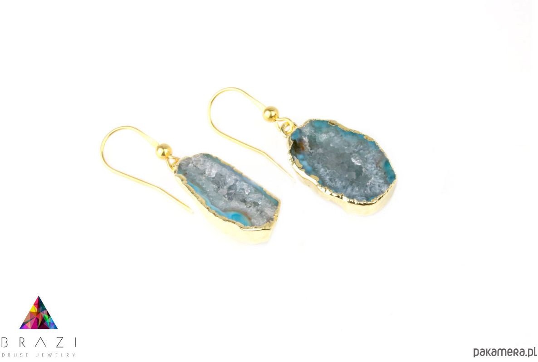 Earrings Geody Agatu Turkusowe złoto