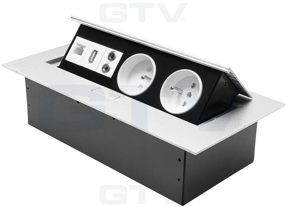 GTV Gniazda wpuszczane w blat 2x230V USB MINIJACK RJ45 AE-PB02GU-53 AE-PB02GU-53