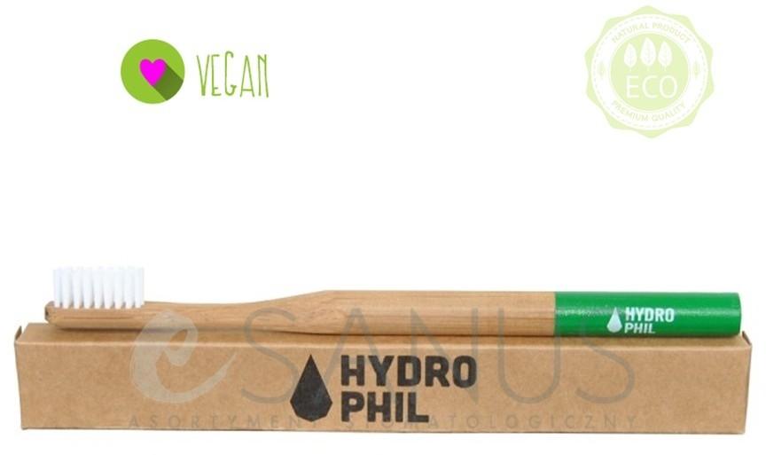 HYDROPHIL Ekologiczna, bambusowa szczoteczka do zębów, średnia, zielona, 1 szt. Szc000013