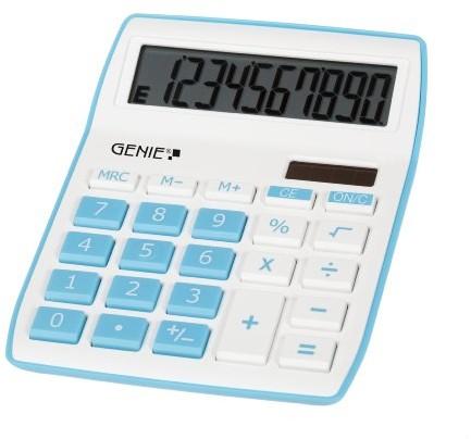 Genie 840 B kalkulator biurowy, 10 cyfr, podwójne zasilanie (słoneczne i bateria), niebieski 12260