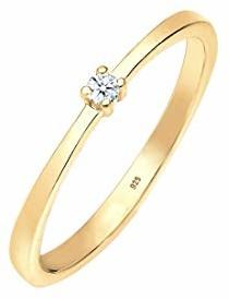 DIAMORE Diamore 0605980718 damski pierścionek zaręczynowy, srebro wysokiej próby 925, diament, kolor: złoto, rozmiar: 58