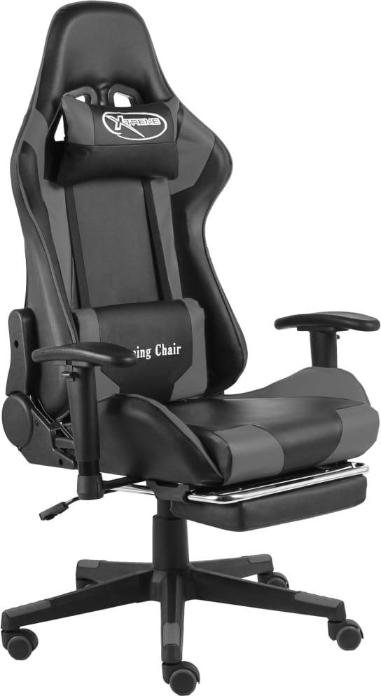 vidaXL fotel gamingowy z podnóżkiem, szary, PVC