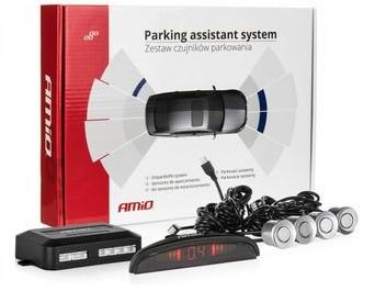 AMIO Czujniki parkowania AMiO z wyświetlaczem LED i buzzerem 4 sensory 22mm srebrne P16-0032