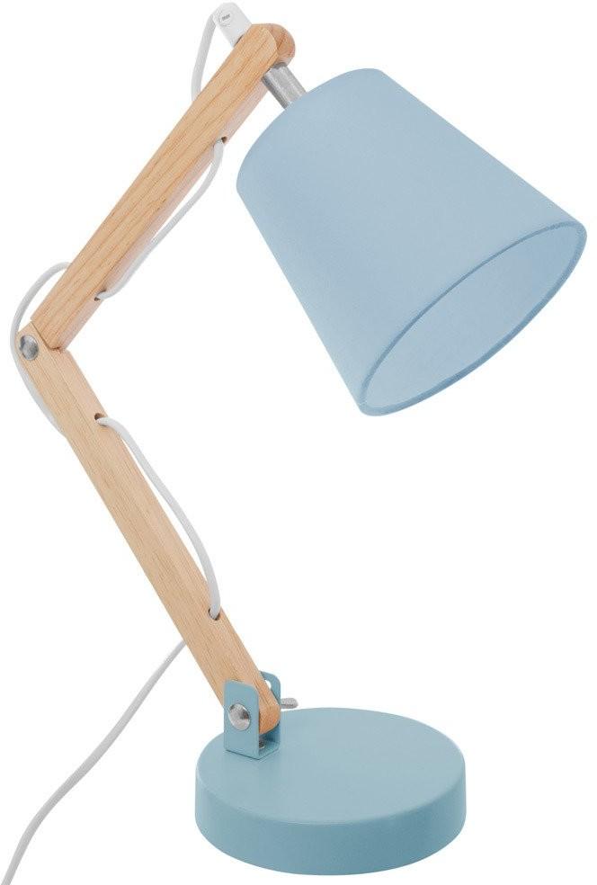 Atmosphera for kids Lampa stojąca na stół z drewna i metalu oświetlenie z abażurem na szafkę nocną do sypialni B07GL559W2