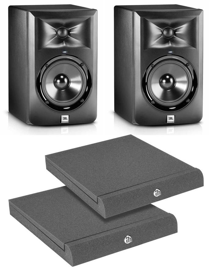 JBL 2x LSR 305 - monitory studyjne aktywne + podkładki
