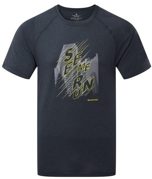 RONHILL RONHILL koszulka biegowa męska STRIDE GRAPHIC TEE szara