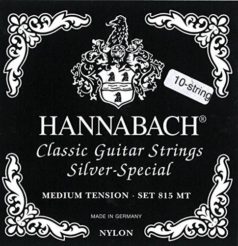 Hannabach 652599 struny do gitary klasycznej, seria 815, do gitar 8/10, medium Tension Silver Special - zestaw 10-strunowy 652599