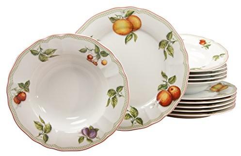 Creatable 17031 12-częściowy serwis stołowy z serii Flora Orchard 17031