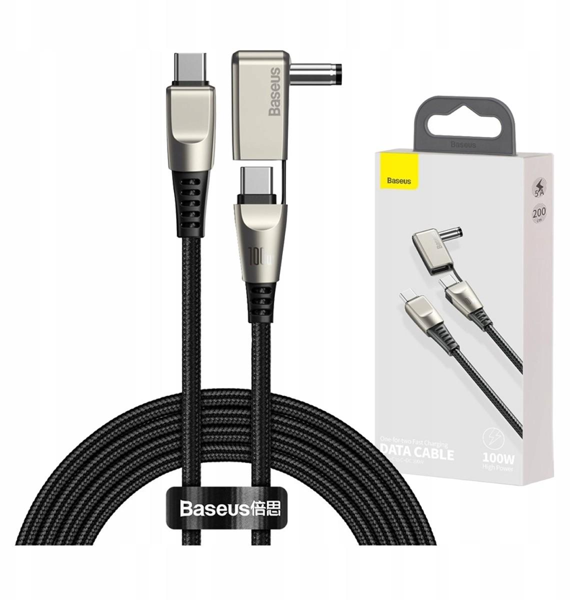 Baseus 2w1 kabel Usb - Usb Typ C / 5,5 mm x 2,5 mm