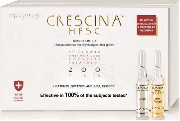 LABO COSPROPROPHAR Crescina Hfsc 100% Complete Treatment i Anti-Hair Loss 200 początkowa faza przerzedzenia włosów dla mężczyzn x 10+10 amp produkt dostępny na zamówienie czas oczekiwania 3-5 dni roboczych | DARMOW