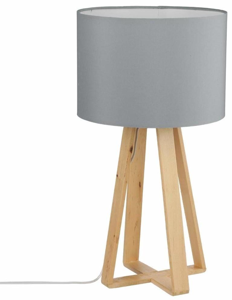 Vintage Atmosphera Créateur dintérieur Szara lampa stołowa z abażurem lampa drewniana lampa stojąca do salonu lampa lampa stojąca podłogowa lampy nowoczesne B079M8TYV6