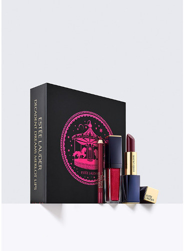 Estee Lauder Pure Color Envy Sculpting Lipstick Shade 450 Insolent Plum + Pure Color Envy Paint-On Liquid Lip Shade 410 Wine Shot + Double Wear SIP Lip Pencil Shade Wine 14) Zestaw