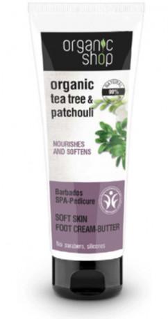 Organic Shop Organic Tea Tree & Patchouli Nourishes And Softnes kremowe masło do stóp 75ml 52826-uniw