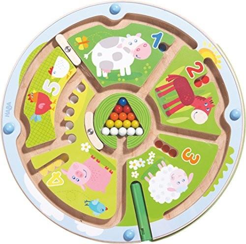 Haba 301473 magnes do gry liczby Labyrinth |wunderschoen illustriertes Baby-zabawka dla niemowląt i małych dzieci od 2 jahren| zabawę z drewna