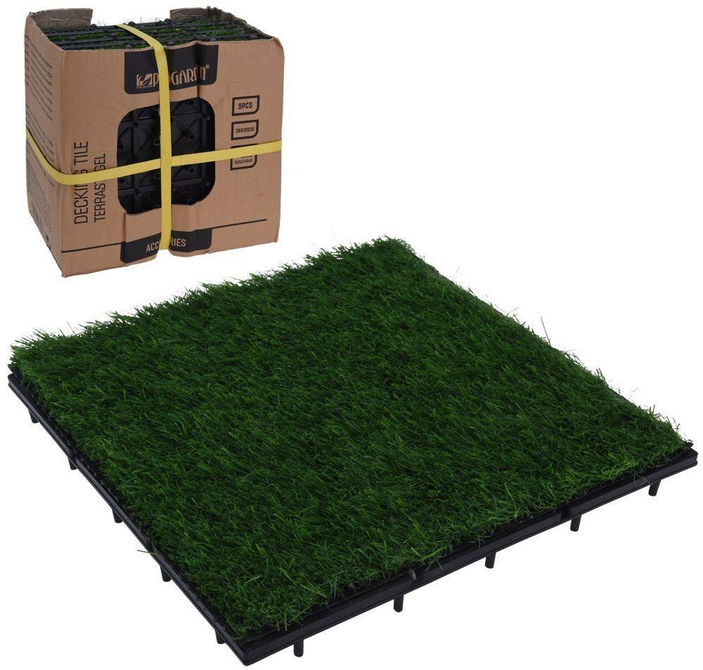 ProGarden Płytki PANELE tarasowe balkonowe zielone 30x30 cm SZTUCZNA TRAWA podest 9 sztuk 339123