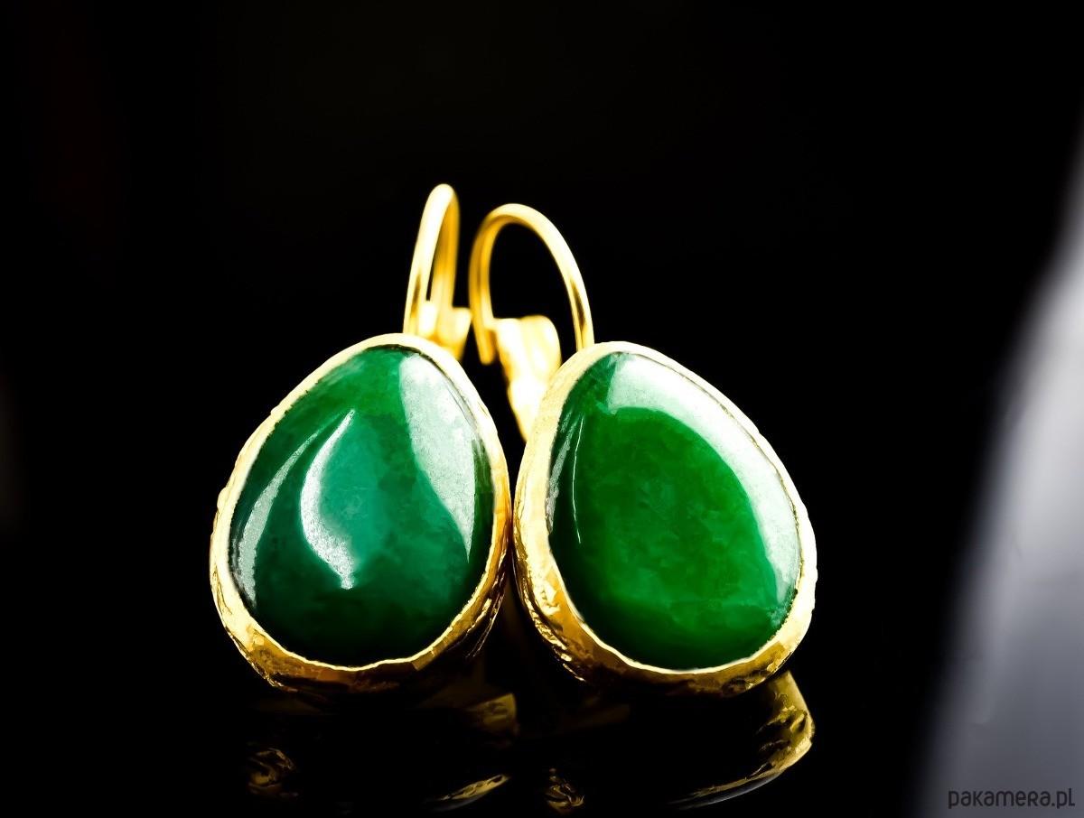 Pozłacane kolczyki Zielony Agat II
