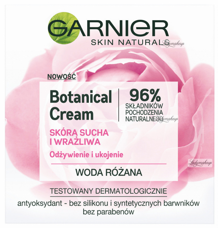 Garnier Botanical Cream - Rose Floral Water - Krem nawilżający do skóry suchej i wrażliwej GARSIWR