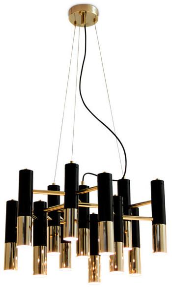 Pipe Step into design Lampa wisząca 60cm Step into design Golden 13 złoto-czarna ST-5719-13