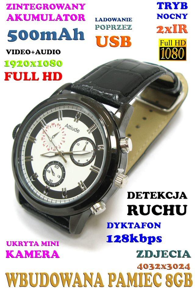Spy Elektronics Ltd Szpiegowski Zegarek FHD na Rękę 8GB) Nagrywający Obraz/Dźwięk + Dyktafon + Detekcja Ruchu + 2x IR 590112954879