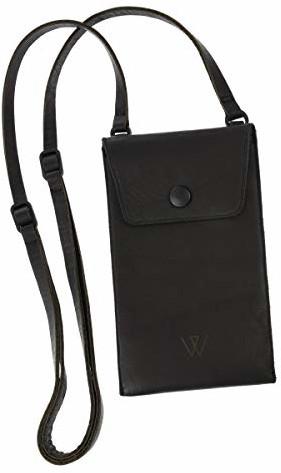 Samsung Wunschleder Torba na ramię na telefon komórkowy ze skóry wymarzonej, prawdziwa skóra czarna, pasuje do iPhone'a, Galaxy, LG Nexus, Huawei i wszystkich innych smartfonów 4056446026421