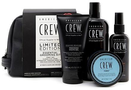 American Crew Essential Grooming Kit | Zestaw dla mężczyzn włóknista pasta 85g + szampon odżywka i żel pod prysznic 250ml + spray do modelowania 100ml + żel do golenia 150ml + kosmetyczka
