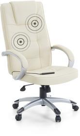 Beliani Fotel biurowy bezowy - Skórzane krzeslo z masazem, srebrny krzyzak - DIA