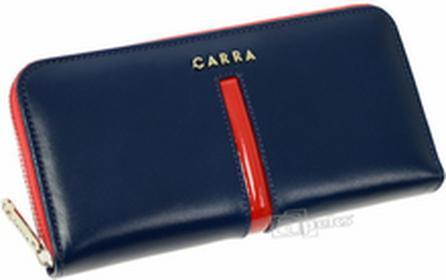Carra PC026-2 BLUE damski portfel skóra - granatowy / czerwony