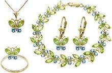 Galaxy Gold Products , Inc 2623 Komplet biżuterii z oliwinów i niebieskich topazów