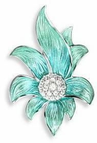 Nicole Barr (UK) Srebrna broszka - turkusowy kwiat z białymi szafirami, srebro 9