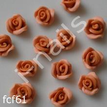 Ceramiczne Ozdoby do paznocki 3D róże podwójnie kolorowe fcf61 (4szt.) capuccino