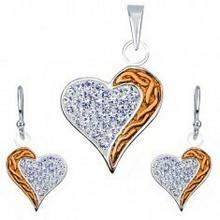 Biżuteria e-shop Srebrny zestaw 925 kolczyki i zawieszka - cyrkonie, miedziany pas, serce